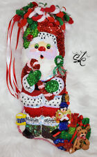 SANTA'S TREATS - Finished Completed Christmas Stocking -  LOTS OF DETAIL!!!