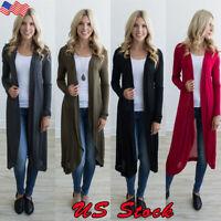Women Open Front Long Sleeve Cardigan Top Blouse Casual Long T Shirt Outwear Top