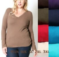 Women Plus Size Basic V NECK Tee T Shirt Long Sleeve Stretch Cotton  1X 2X 3X