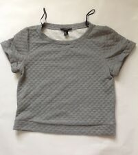 Light Grey Textured Short Sleeve 3/4 Cropped Top - Size M - Forever 21
