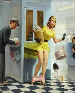 Art Frahm Pin Up Girls 3 Poster Reproduction Paintings Giclee Canvas Print