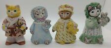 Vintage Schmid Kitty Cucumber Figurines, 4 Kitties in Pajamas 1987