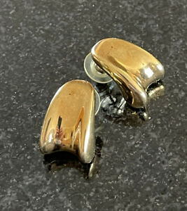 Milor Italy 14K Gold Pierced Earrings Puffy Resin Filled Concave Curved