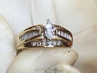1.75Ct Marquise Cut Diamond Engagement Wedding Ring 14k Yellow Gold Finish