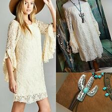 Country CREAM LACE DRESS Ruffle Sleeves COWGIRL GYPSY Western Boho SMALL nwt