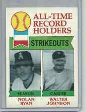 Nolan Ryan - Walter Johnson 1979 Topps All Time Record Holders #417 NICE FOR SET