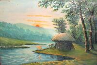 Antique impressionist oil painting river landscape forest hut
