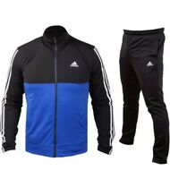 Adidas Back To Basics 3 Stripe Tracksuit In Black & Blue  ❌SALE❌ Size Small