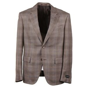 Ermenegildo Zegna Layered Check Cashmere-Silk-Hemp Sport Coat 42S Short