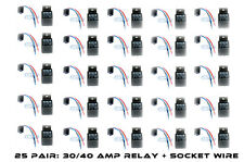 25 Pair Bosch Style 30/40 Amp 12V Relay+ Harness Spdt - Free Same Day Shipping