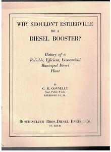 """1929 BUSCH-SULZER DIESEL PLANT IN ESTHERVILLE IOWA 8 1/2"""" X 11"""" 12 PAGE BROCHURE"""