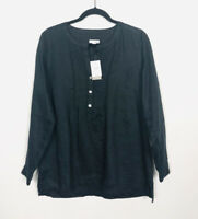 J Jill Women's Linen Crew Neck Tunic Top Size Small 3/4 Sleeve Pure Black