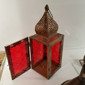 Modern brass Moroccan turkish Lantern Red Glass MISSING ONE PANE OF GLASS