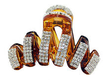 Large Luxury Fancy Good Quality Rhinestones Claw Clip Jaw Clips-Brown