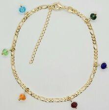 Gold Filled Blue Green Red # 200 Ankle Bracelet Adjustable 10 to 12 inch Long