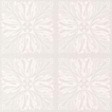 Con Purpurina Blanco Floral Patrón de Cuadrados Papel Pintado Texturizado -