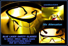 BLUE LASER SAFETY GLASSES +30x Attenuation - Polycarbonate - ANZI Compliant
