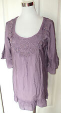 NWT! NEW! LOVE STITCH LAVENDER EMBROIDERED BEADED CROCHET PEASANT TUNIC DRESS S