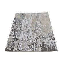"3'1""x5' Abstract Design Wool&Silk Denser Weave Farsian Knot Handmade Rug R66533"