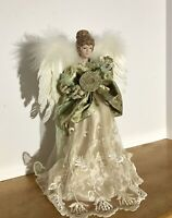 Ivory and Gold Angel Christmas Tree Topper 15 Inches Tall Lute Feather Wings