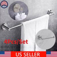 4Pcs Silver Bathroom Hardware Set Towel Rack Toilet Paper Holder Towel Bar Hook