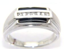 Gents Mens 9carat 9CT Gold, Diamond & Onyx Stoned Ring Size R 1/2