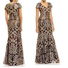 David Meister Black Gold Lace Metallic Cap Sleeve V-Neck Gown Dress $895 Size 4