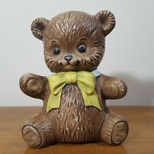 "Vintage 1984 Alberta's Molds Brown Teddy Bear Coin Piggy Bank - 6"" x 4.75"""