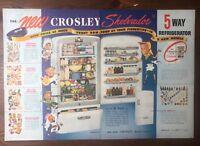 Original 1948 Magazine Print Ad CROSSLEY Shelvador Refrigerator Vintage Art