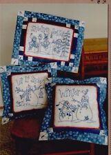 PATTERN - Snowmen Season Bluework - stitchery PATTERN - Bird Brain designs
