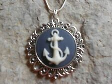 *ANCHOR CAMEO NECKLACE (CREAM ON NAVY)!! .925 SILV. PLATE CHAIN!! BOAT
