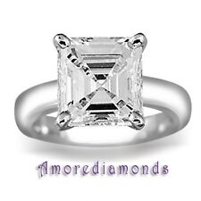 1 ct G VS2 asscher cut natural diamond solitaire engagement ring platinum 2mm