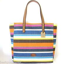NEW FOSSIL ZOEY BLUE+WHITE MULTI-STRIPES CANVAS TOTE,SHOULDER+HAND BAG,PURSE