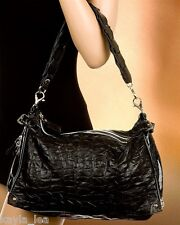 Black Silver-Tone Zippers Expanding Width & Handle Boho Tote/Hobo Purse/Handbag