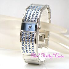 Ladies Statement Cuff Watch w/ Light Sapphire Blue Sapphire Swarovski Crystals