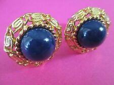 Vintage Monet Dark Blue LUCITE DISK Clip-on Earrings- 1 INCH-70