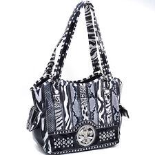 New Women Animal Print Leather Handbag Shoulder Bag Purse w/ Rhinestone Studs