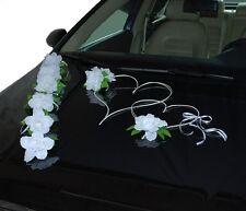 Brautauto Dekoration Hochzeitsauto Autoschmuck Autodeko Rosen Herzen - K2 Weiß