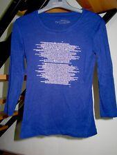 T-shirt Top Caroll Femme S 36 Bleu Nuit Indigo Strass manches 3/4 excellent état