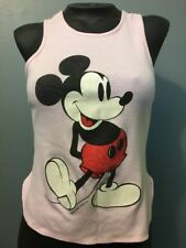 Vtg 70s 80s Womens Micky Mouse Pink Sexy Tank Top Ladies M T-shirt 50/50 Cotton