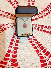 """CREED NEW 24 KT""""GOLD  MIRACULOUS 1/2""""H  MEDAL PINK,  18"""" Chain, Gift Box VP494P"""