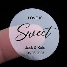 48x 4cm Round Clear Name Stickers Love Is Sweet Wedding Favor Gift Sticker Label
