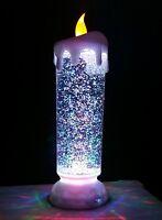 LED Kerze groß 25cm Farbwechsel Glitzer Weihnachtsdeko Kerzenlampe Weihnachten