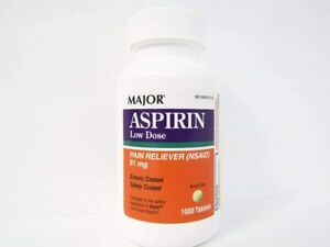 Major Aspirin Low Dose Pain Reliever 81mg 1000 Tablets