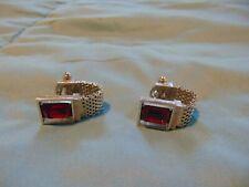 Beautiful Vintage Silver Tone Red Stone Mesh Wrap Cufflinks