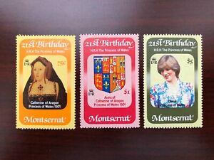Montserrat 1982 Scott #484-486 Princess Diana 21st Birthday Mint NH