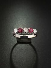 VINTAGE NATURAL RUBY AND DIAMOND CHIC 5 FIVE STONE RING