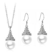 Brautschmuck Satz Weiße Perle & Silber Wasser Tropfen Ohrringe & Halskette S622
