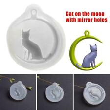 Moon Cat Silicone Pendant Key Mold Jewellry Making CastingTool Mould Resin M3A7