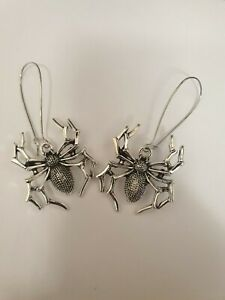 Halloween Spider Drop Dangle Earrings Antique Silver Vintage Gothic Punk